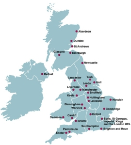 Location of every medical school in the UK